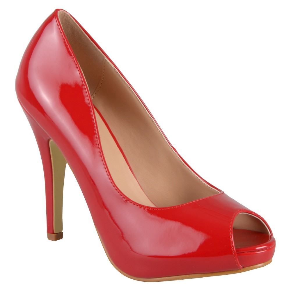 Womens Journee Collection Lois Peep Toe Pumps - Red 8
