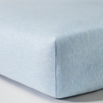 Knit Fitted Crib Sheet - Heather Light Blue - Circo™