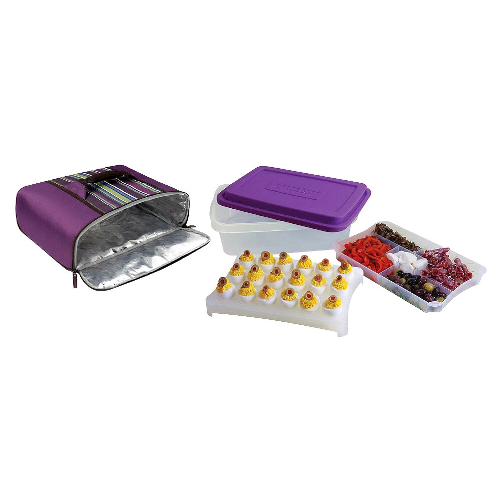 Rachael Ray Foodtastic Party Box with Thermal Carrier - Purple Stripe, Grape Jelly