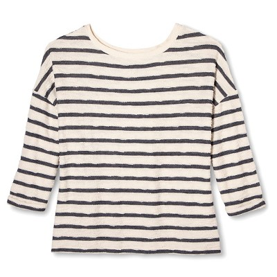 Women's Plus Size Striped Textured Pullover - BLUE X -Ava & Viv™