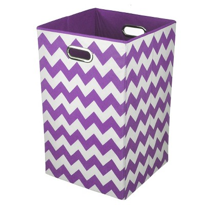 Modern Littles Chevron Laundry Basket - Purple