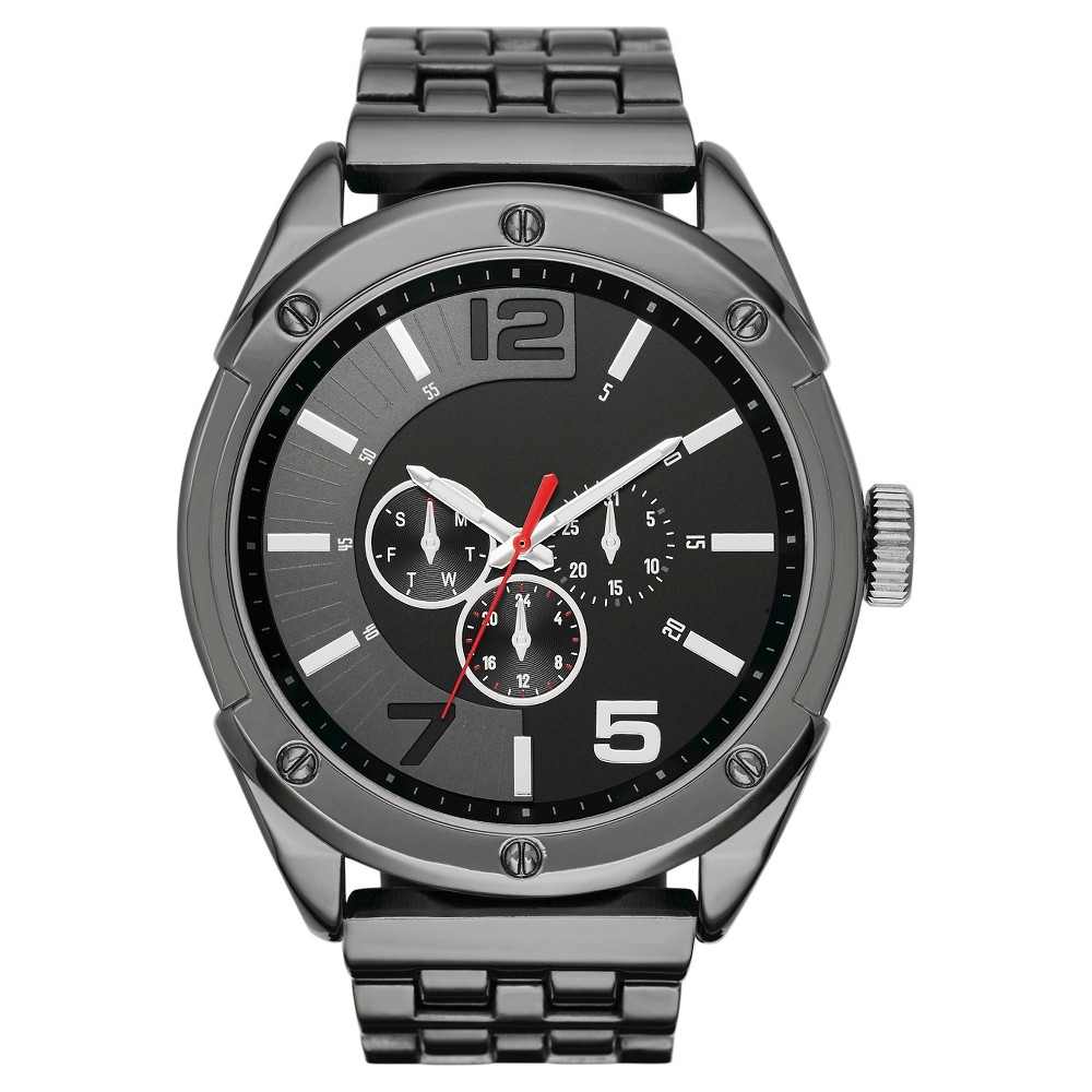 Men's Oversized Analog and Digital Watch in Black with De...