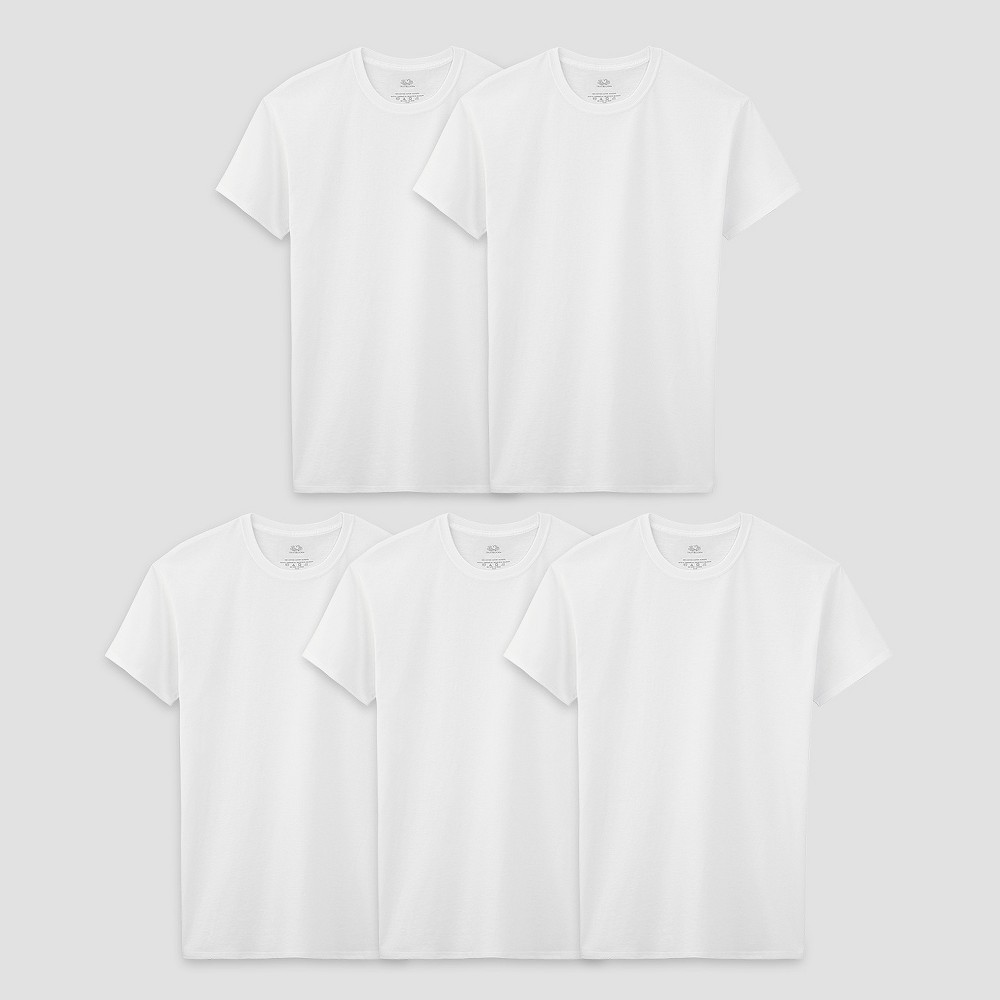 Boys' Fruit of the Loom 5-Pack Tee Undershirt – White, Boy's, Size: XS