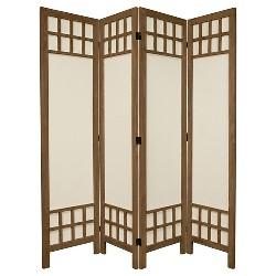 5 1/2 ft. Tall Window Pane Fabric Room Divider 4 Panel - Oriental Furniture
