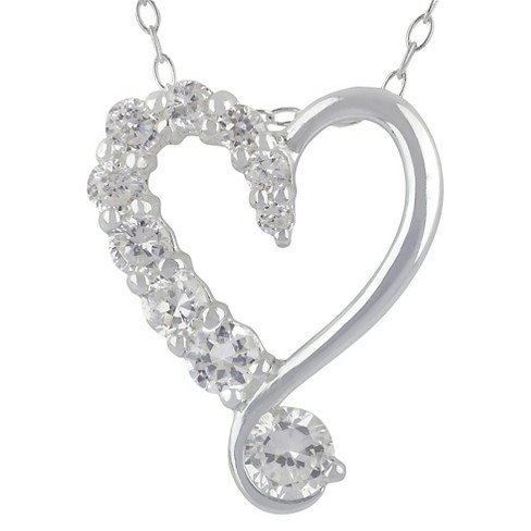 "Women's™ Pendant Necklace Sterling Silver Heart with CZ on 1 Side - Silver/Clear (18"") - image 1 of 1"