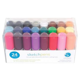SKETCH PEN STARTER KIT for New Silhouette SD Cameo Machine - 24 Pens & Designs