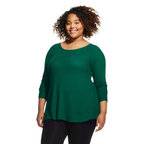 Women's Plus Size Long Sleeve Waffle T-Shirt - Mossimo Supply Co.™ - image 1 of 2