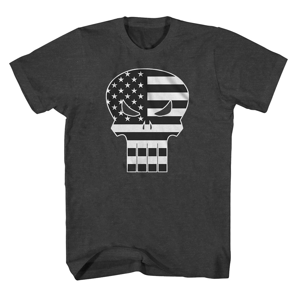 Mens Punisher Flag T-Shirt Charcoal S, Gray