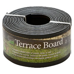 "4"" x 20' Terrace Board Lawn & Garden Edging Black With 5 stakes - Black - Master Mark Plastics"