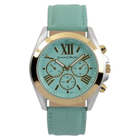 Women's Journee Collection Polished Round Face Simulated Leather Strap Watch - Mint - image 1 of 1