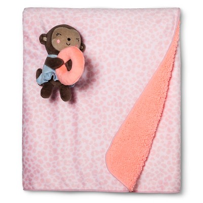 Baby Girls' Valboa Blanket with Monkey Plush Rattle - Just One You™ Made by Carter's® Pink