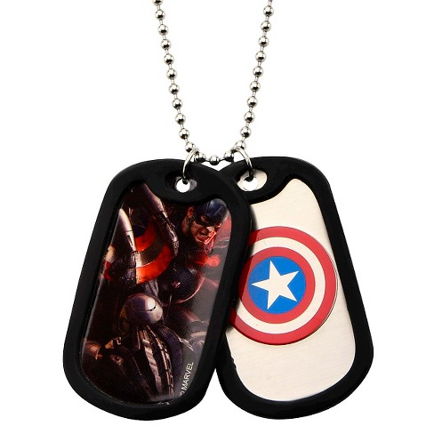"Men's Marvel®AvengersCaptain America Double Stainless Steel Dog Tag and Rubber Silencers (22"") - image 1 of 1"