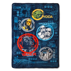Star Wars Classic Characters Bed Blanket - Blue/Black (60x80)