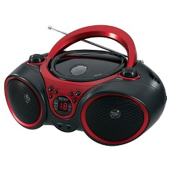 JENSEN® Portable Stereo CD Player with AM/FM Stereo Radio - Black with Red Trim