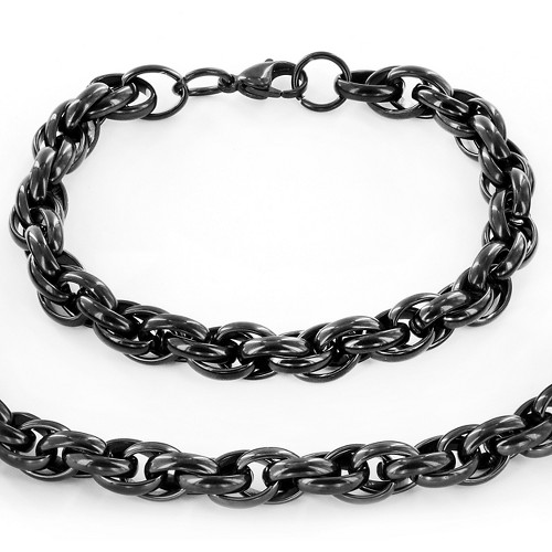 Stainless Steel Plated Rope Chain Necklace and Bracelet Set - Black, Men's