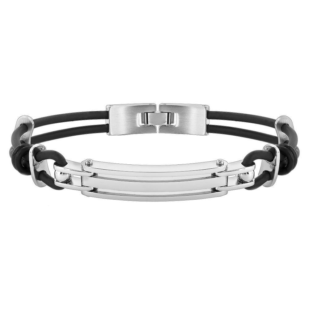 Mens Stainless Steel and Rubber ID Bracelet - 8.5, Black/Silver