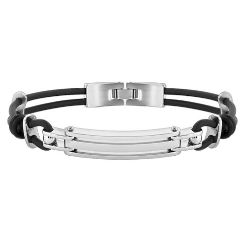 "Men's Stainless Steel and Rubber ID Bracelet - 8.5"" - image 1 of 2"