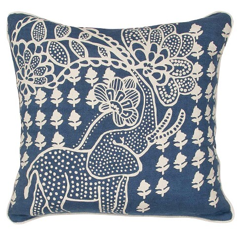 "Blue/White En Casa by Luli Sanchez Handmade Linen Throw Pillow (18""x18"") - Jaipur - image 1 of 1"