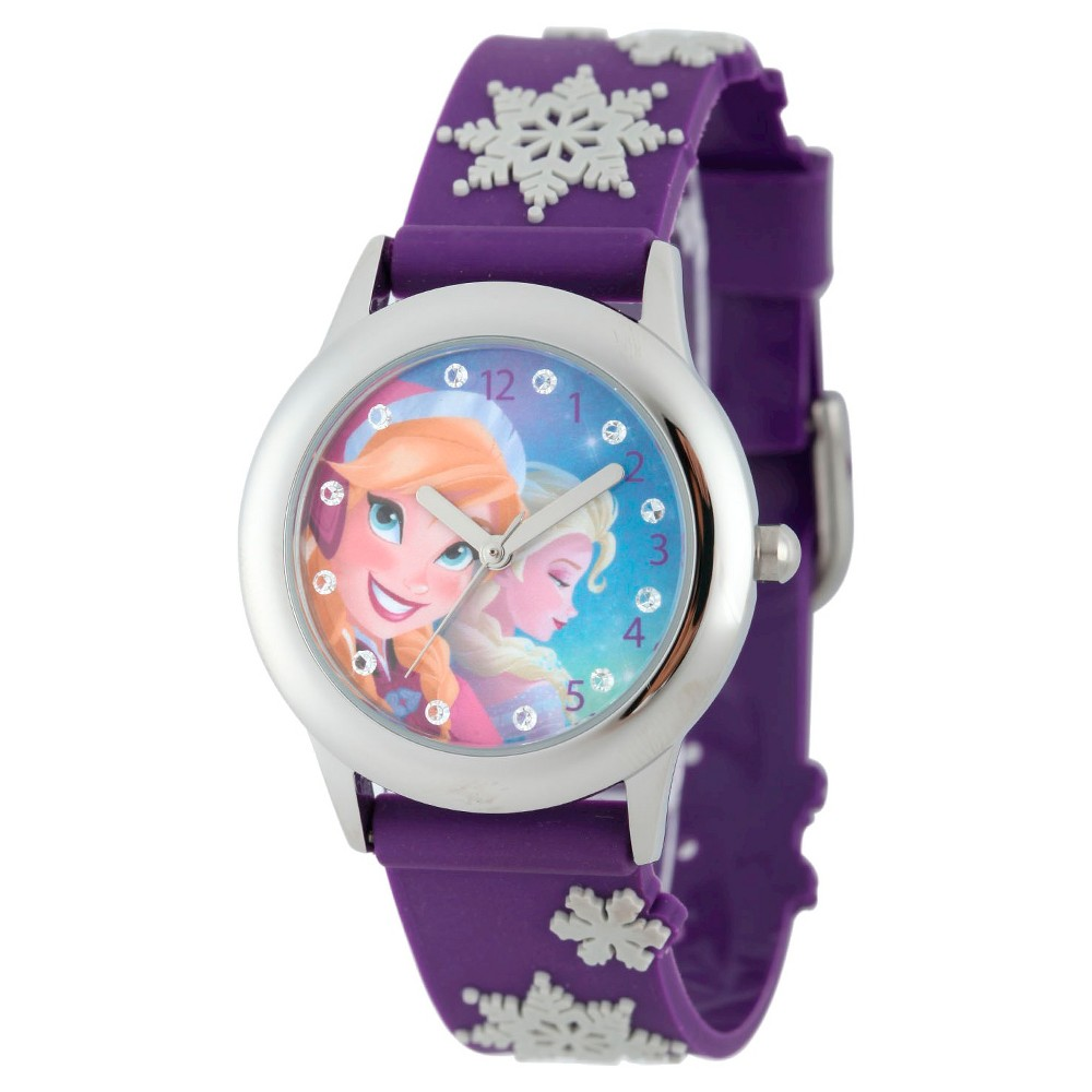 Disney Girls Frozen Anna and Elsa Stainless Steel Case Watch - Purple