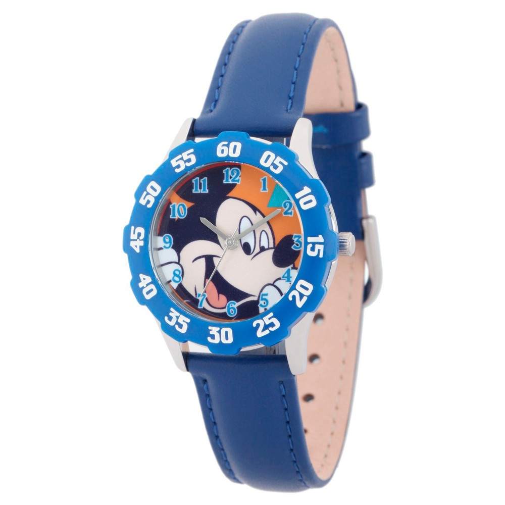 Boys Disney Mickey Mouse Stainless Steel Case with Bezel Watch - Blue