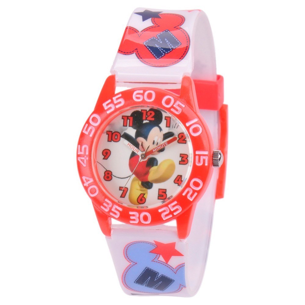 Boys Disney Mickey Mouse Plastic Watch - White, White/Red