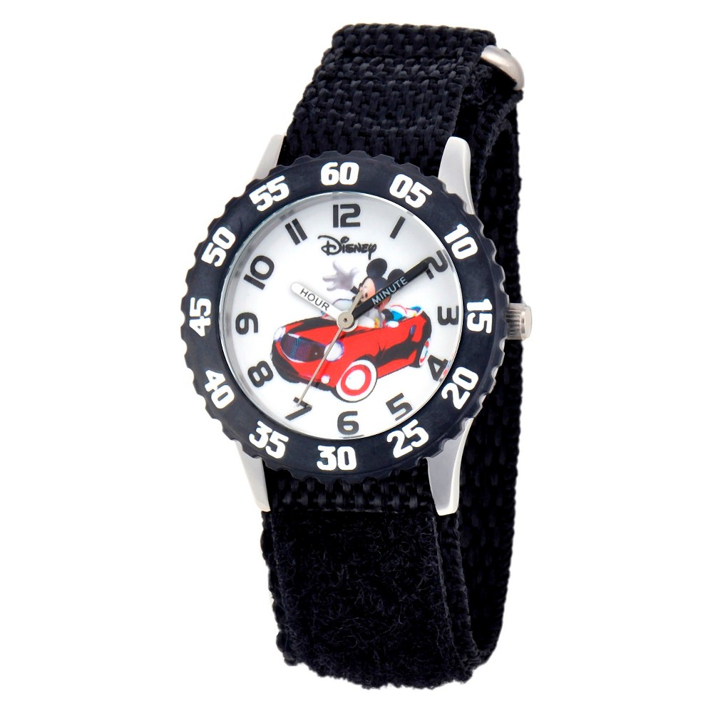 Boys Disney Mickey Mouse Stainless Steel with Bezel Watch - Black