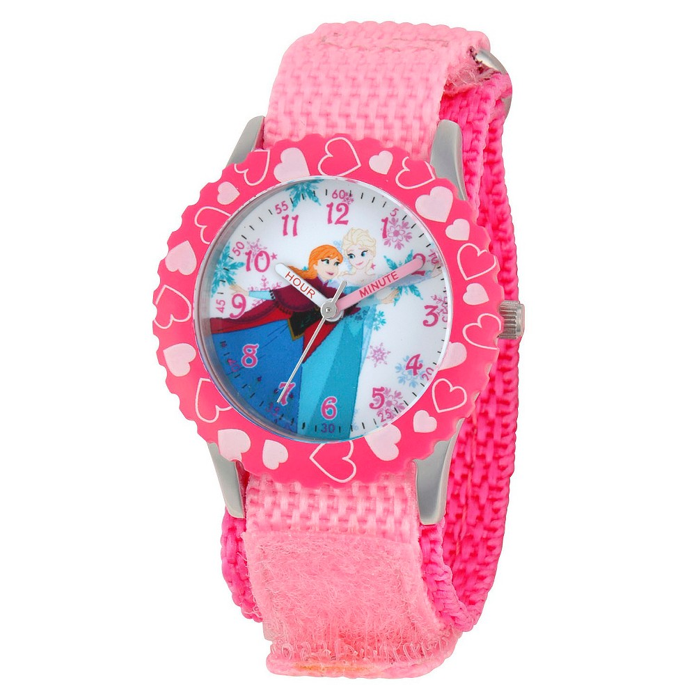 Disney Girls Frozen Anna and Elsa Stainless Steel Case with Bezel Watch - Pink
