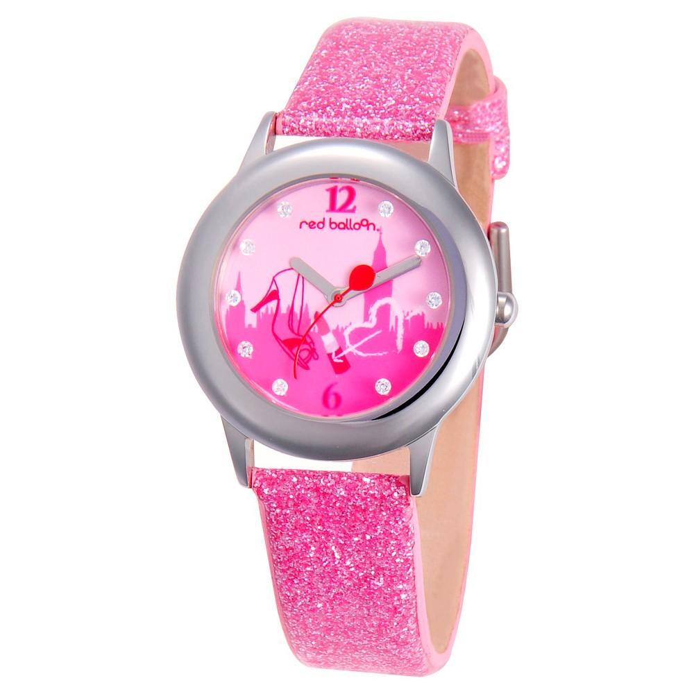 Disney Girls' Red Balloon London Shopping Stainless Steel Glitz Watch - Pink