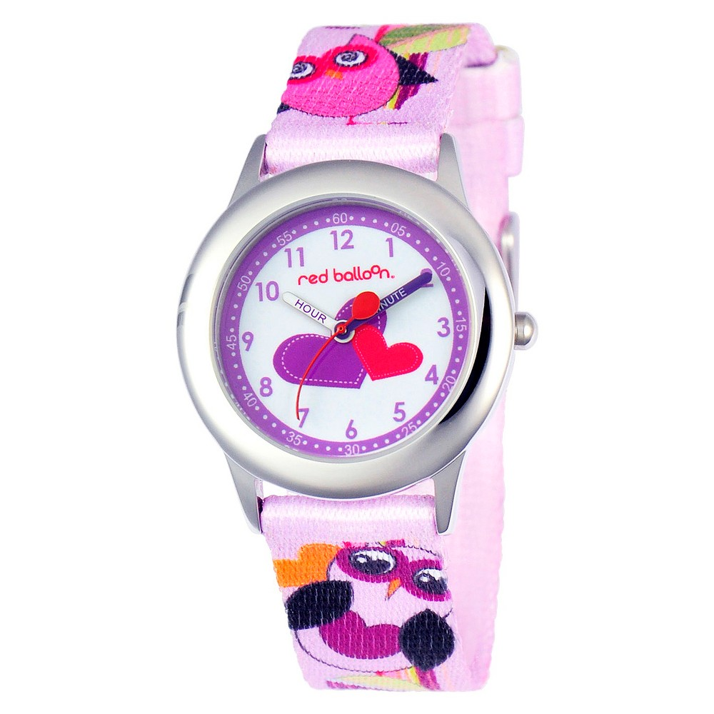 Disney Girls Red Balloon Love Owl Stainless Steel Time Teacher Watch, Multi-Colored