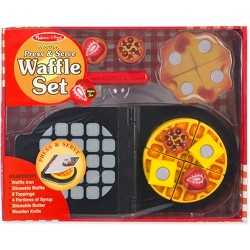 Melissa & Doug® Press and Serve Wooden Waffle Set (23pc) - Play Food and Kitchen Accessories