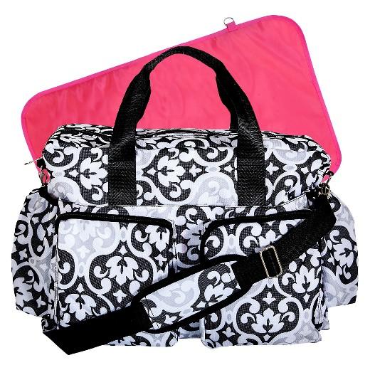 trend lab scroll duffle diaper bag black white target. Black Bedroom Furniture Sets. Home Design Ideas