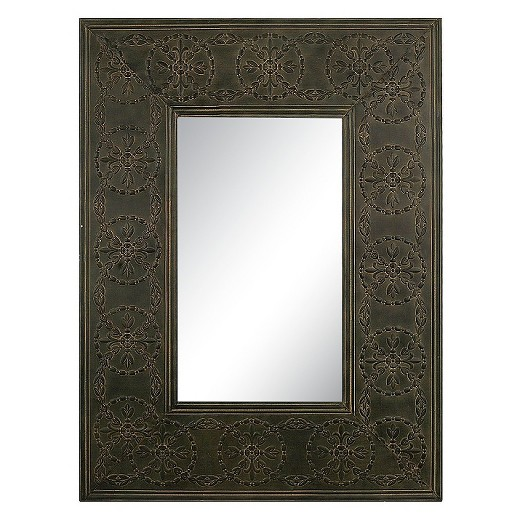 Rectangle Embossed Metal Frame Decorative Wall Mirror - 3R Studios ...