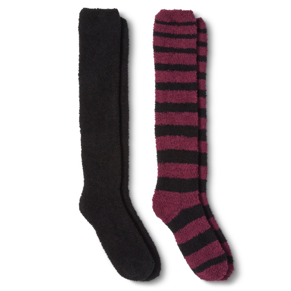 Womens Casual Socks - Xhilaration Red 4-10, Burgundy Stripe/Black