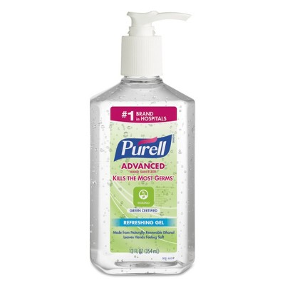 PURELL Advanced Green Certified Instant Hand Sanitizer Gel 12oz Pump Bottle Clear