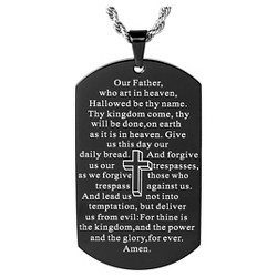 Men's Mirror Polished Plated 'Lord's Prayer' Dog Tag Necklace - Black