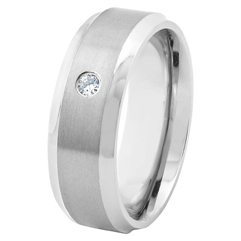 Men's Titanium Satin Finish Beveled Edge CZ Ring (8mm) - West Coast Jewelry - image 1 of 5