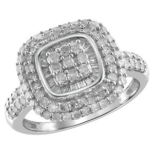 1.00 CT. T.W. Round and Baguette-Cut White Diamond Ring - White (8), Women
