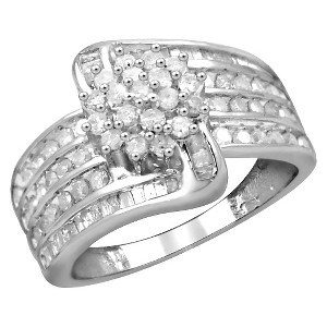 1.00 CT. T.W. Round and Baguette-Cut White Diamond Ring - White (7), Women