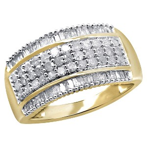 1.00 CT. T.W. Round and Baguette-Cut White Diamond Ring - Yellow (6), Women