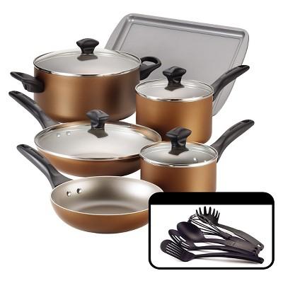 Farberware Dishwasher Safe Nonstick 15 Piece Cookware Set in Copper