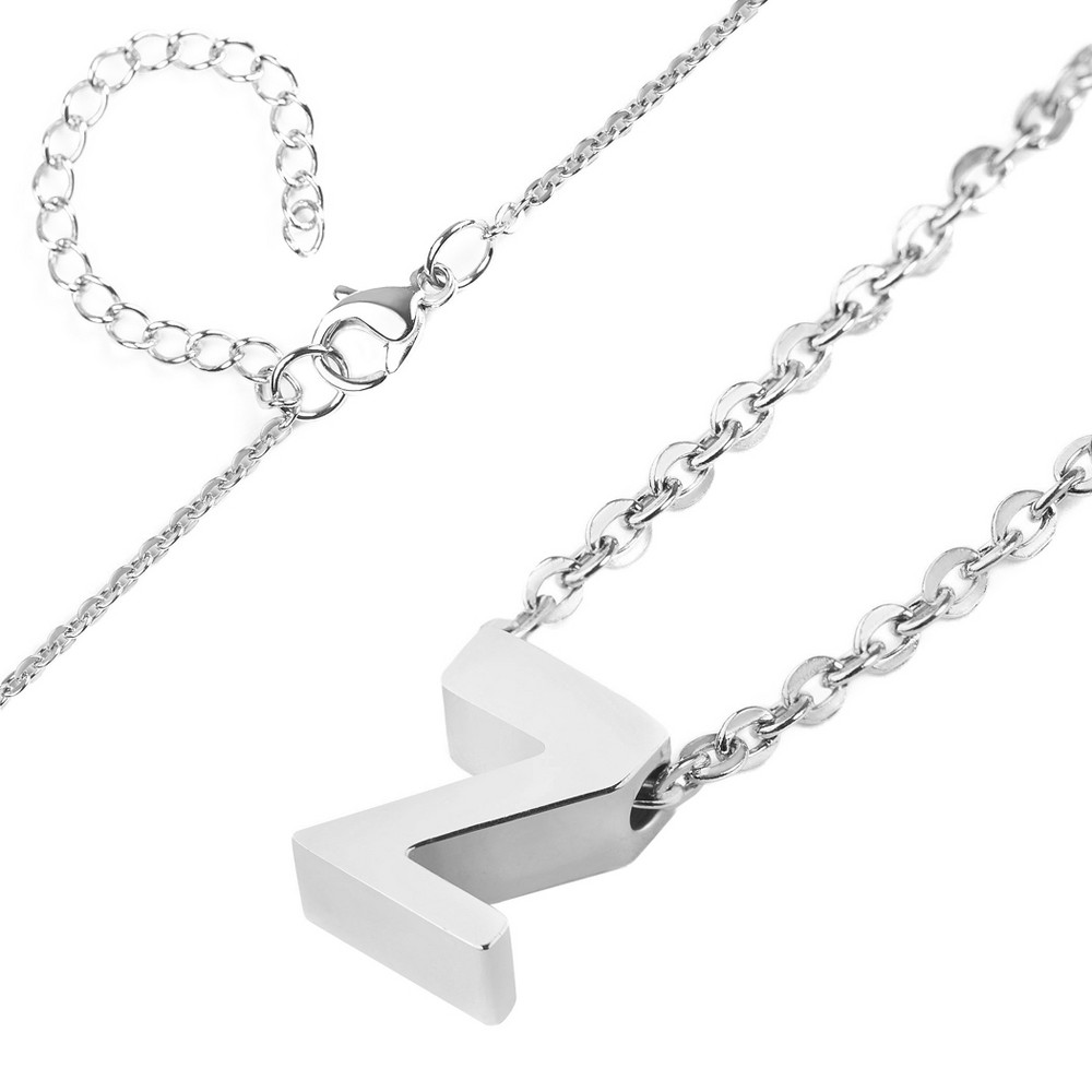 Womens Elya Stainless Steel Initial Pendant Necklace l, Size: Large, Silver