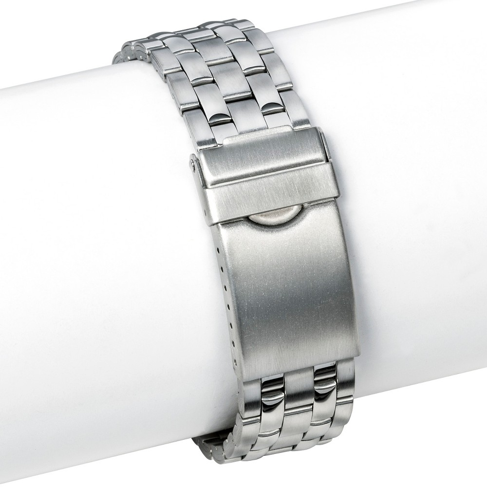 Speidel Buckle Clasp Replacement Watchband 16-21MM Stainless Steel - Silver, Adult Unisex