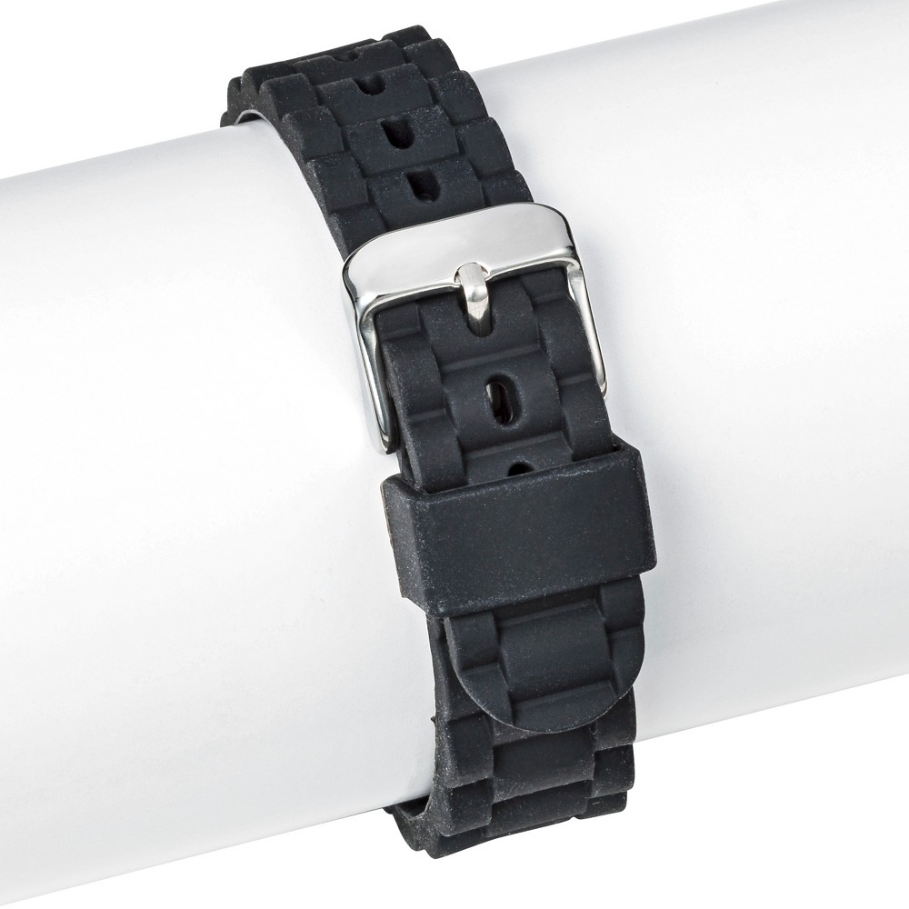 Speidel Linked Rubber Replacement Watchband 18MM - Black, Adult Unisex