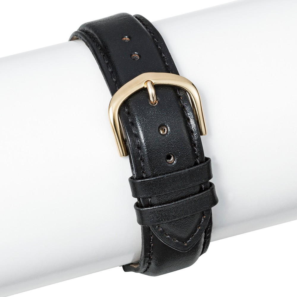 Speidel Padded Leather Replacement Watchband 19MM- Black, Adult Unisex