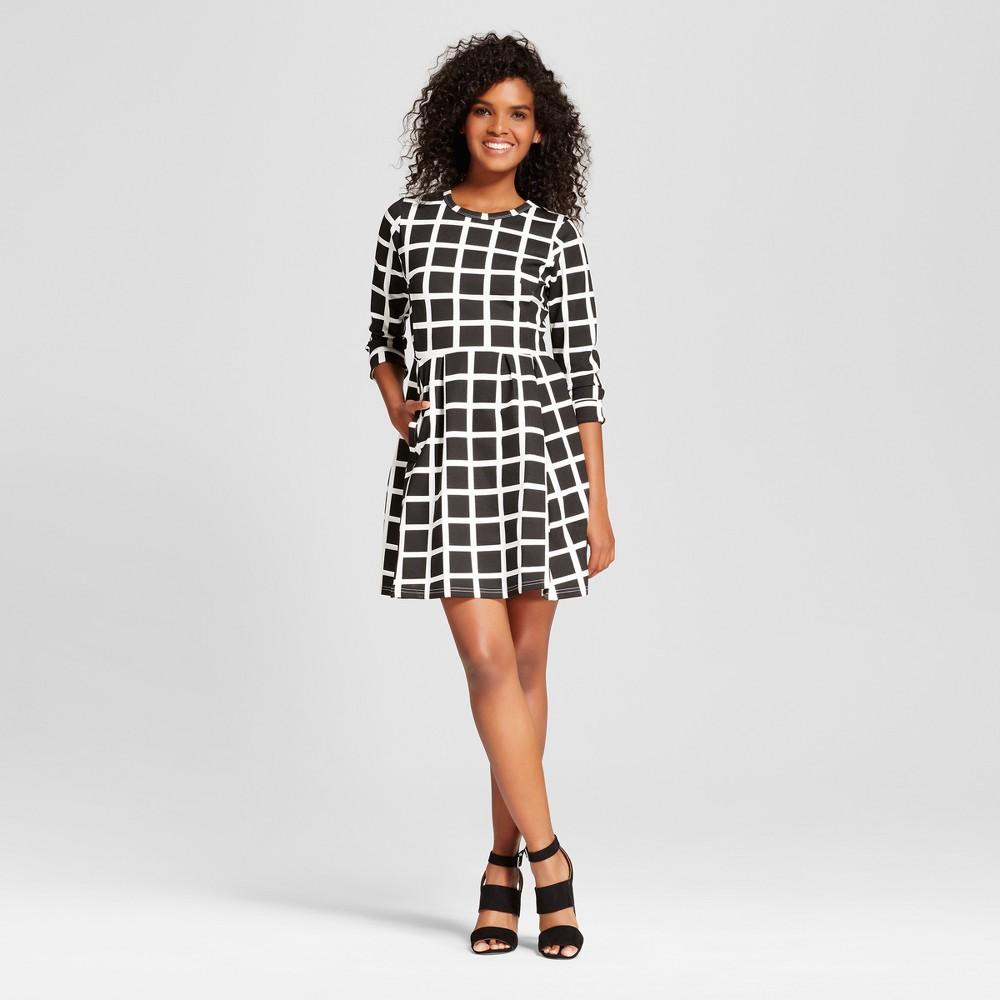 Womens 3/4 Sleeve Windowpane Dress - K by Kersh Black/White L