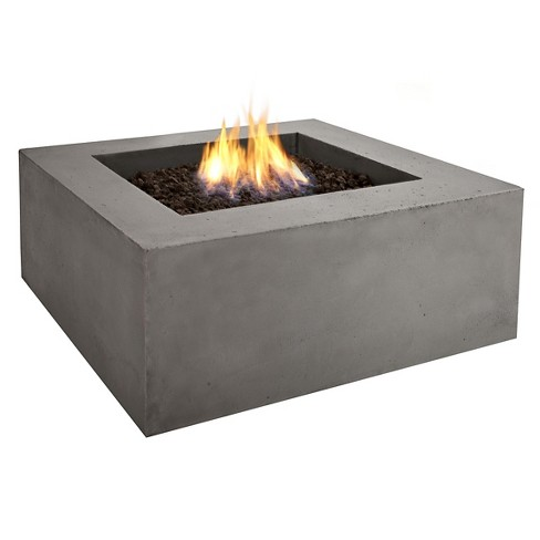 "Baltic 36"" Lightweight Fiber - Concrete Natural Gas Fire Table - Square - Glacier Gray - Real Flame - image 1 of 5"