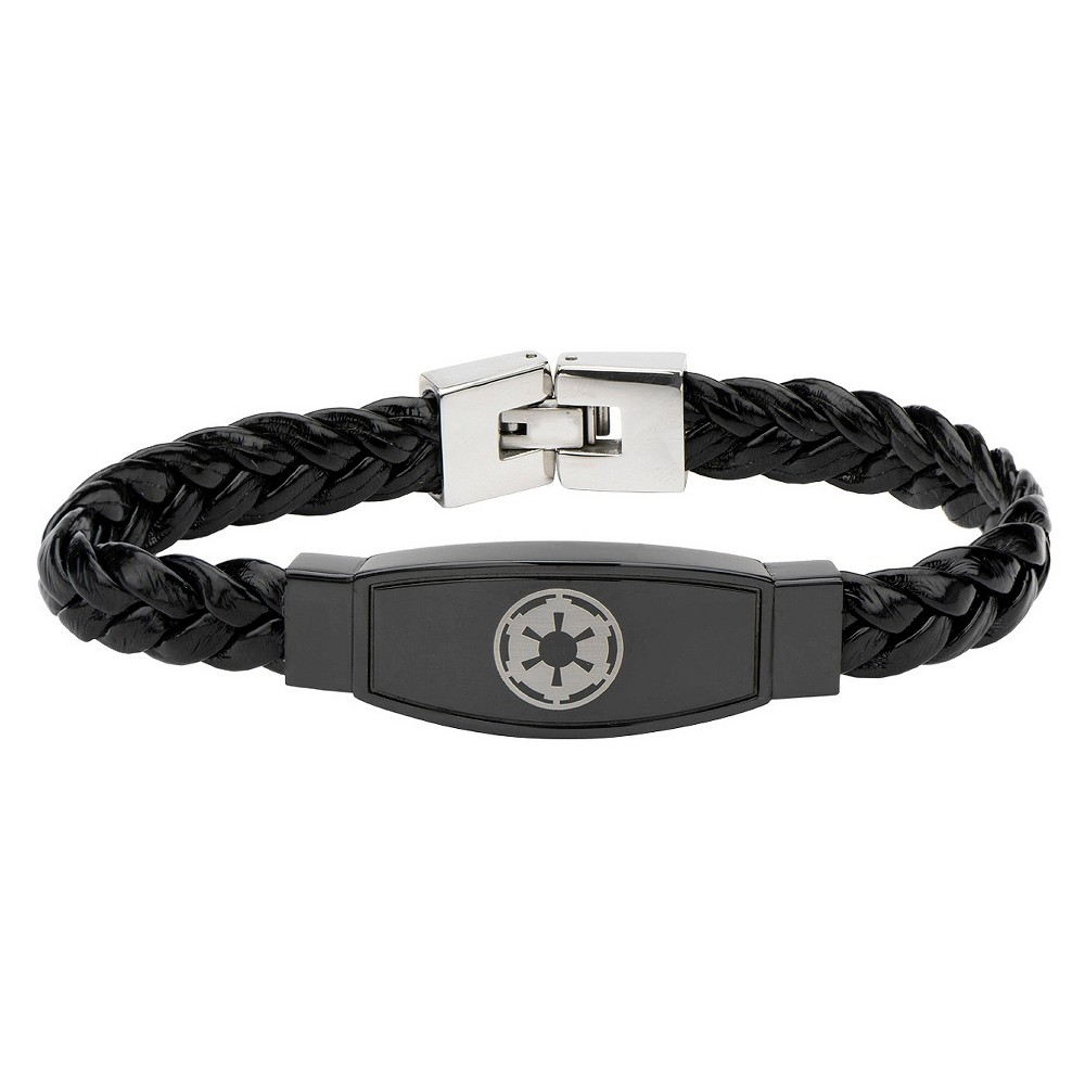 Mens Star Wars Galactic Empire Symbol Bracelet with Real Italian Leather - Black/Red, Stainless Steel