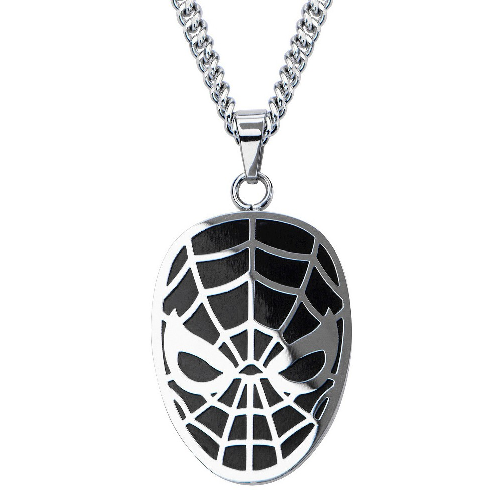 Mens Marvel Spider-Man Stainless Steel Pendant with Chain - Black (24)