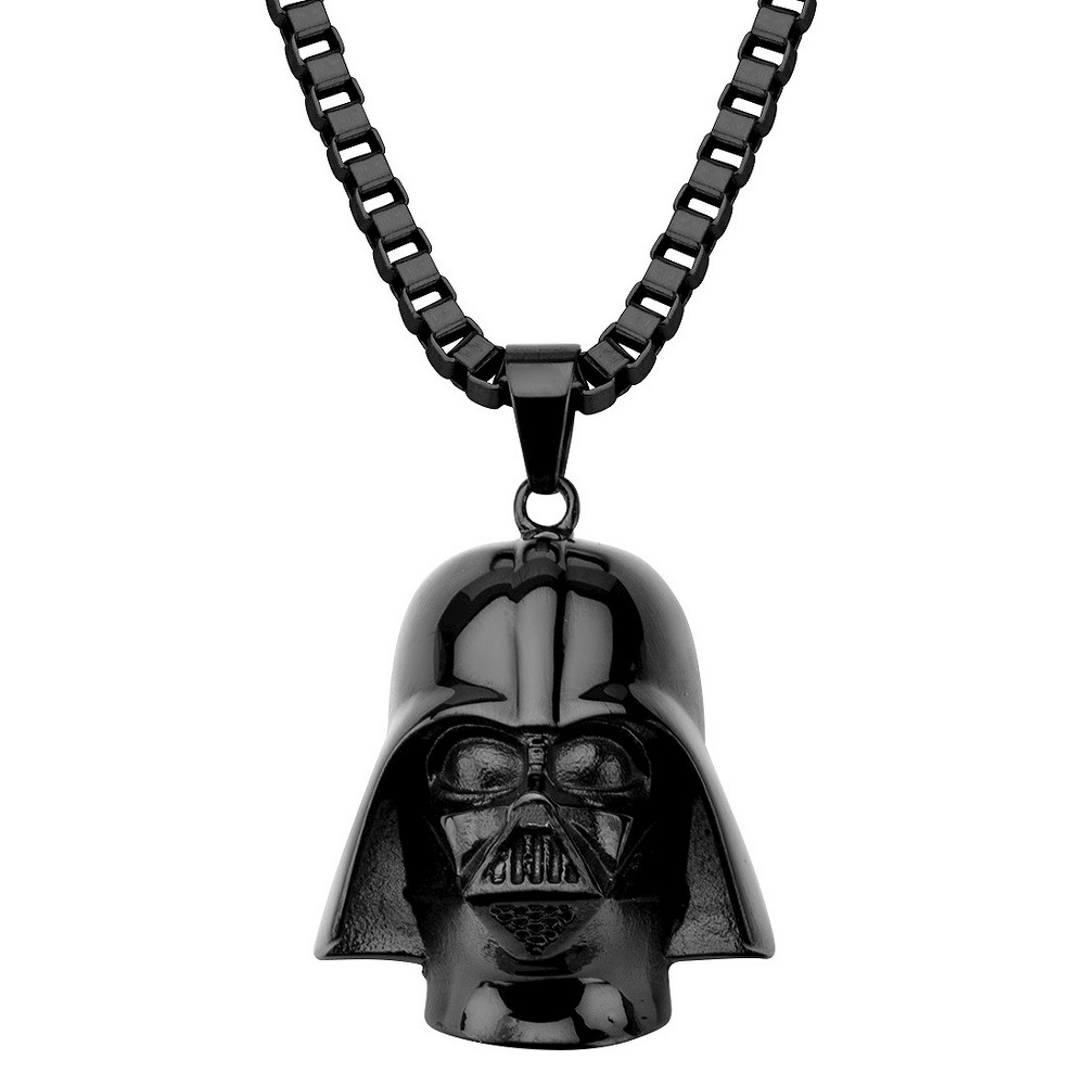 Mens Star Wars Stainless Steel 3D Darth Vader Pendant with Chain - Black (22)