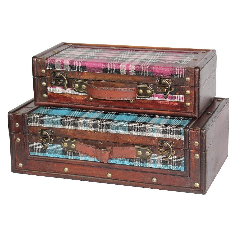 Tartan Plaid Suitcase Set Blue/Pink - Quickway Imports, Brown
